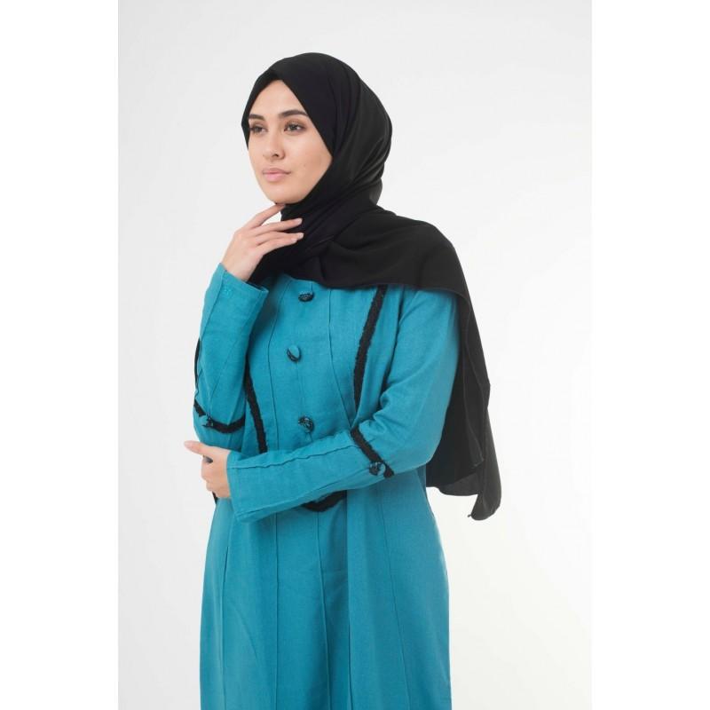 Jet Black Georgette Hijab