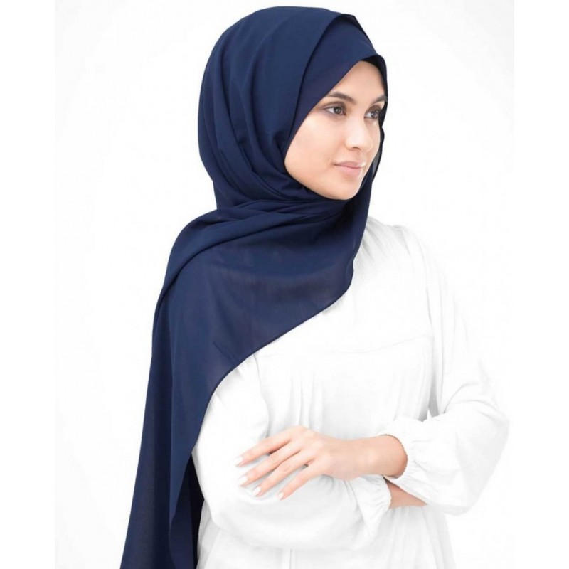 Midnight Blue Georgette Hijab