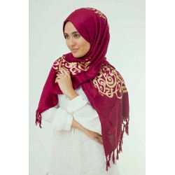 Red Velvet Calligraphy Hijab