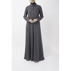 Chrome Grey Polo Shirt Abaya