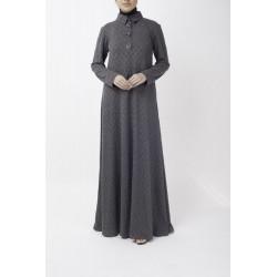 Chrome Grey Polo Shirt Abaya